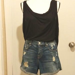 7 For All Mankind Button Fly Destroyed Jean Shorts